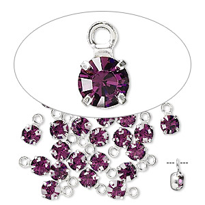 drop, swarovski crystals and rhodium-plated brass, amethyst, 4-4.1mm round (17704), pp32. sold per pkg of 48.