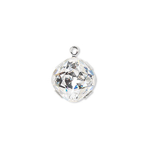 drop, swarovski crystals and rhodium-plated brass, crystal clear, 13x13mm diamond (18704). sold per pkg of 24.