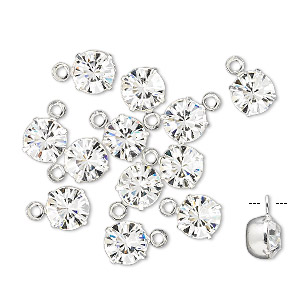 drop, swarovski crystals and rhodium-plated brass, crystal clear, 6.14-6.32mm round (17704), ss29. sold per pkg of 48.