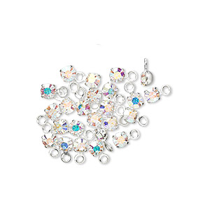 drop, swarovski crystals and rhodium-plated brass, crystal passions, crystal ab, 3-3.2mm round (17704), pp24. sold per pkg of 24.