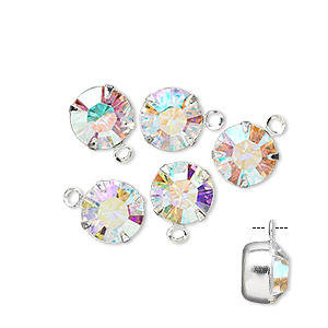 drop, swarovski crystals and rhodium-plated brass, crystal passions, crystal ab, 8.16-8.41mm round (17704), ss39. sold per pkg of 6.