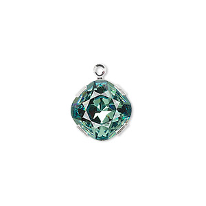 drop, swarovski crystals and rhodium-plated brass, crystal passions, erinite, 13mm diamond (18704). sold individually.