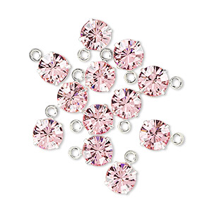 drop, swarovski crystals and rhodium-plated brass, crystal passions, light rose, 6.15-6.32mm round (17704), ss29. sold per pkg of 12.