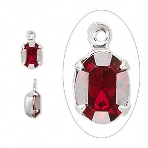 drop, swarovski crystals and rhodium-plated brass, crystal passions, siam, 8x6mm oval (15504). sold per pkg of 4.