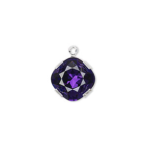 drop, swarovski crystals and rhodium-plated brass, purple velvet, 13x13mm diamond (18704). sold per pkg of 48.