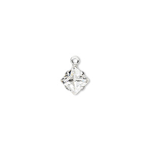 drop, swarovski crystals and silver-plated brass, crystal clear, 8mm diamond (18804). sold per pkg of 24.