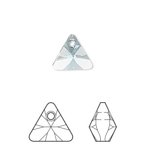 drop, swarovski crystals, aquamarine, 12mm xilion triangle pendant (6628). sold per pkg of 144 (1 gross).
