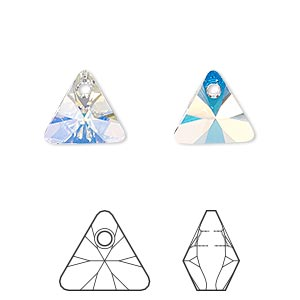 drop, swarovski crystals, crystal ab, 12mm xilion triangle pendant (6628). sold per pkg of 144 (1 gross).