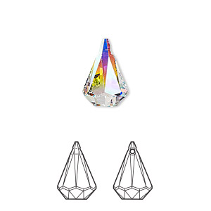 Drop swarovski crystals crystal passions crystal ab 14x9mm drop swarovski crystals crystal ab 14x9mm xirius raindrop pendant 6022 sold per pkg of 72 aloadofball Gallery