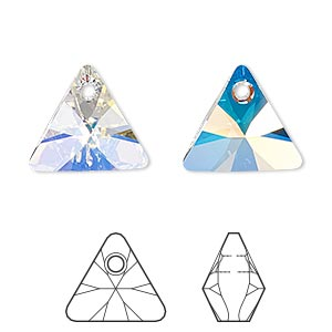 drop, swarovski crystals, crystal ab, 16mm xilion triangle pendant (6628). sold per pkg of 72.