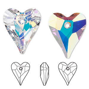 Swarovski hearts charms pendants and drops fire mountain gems and drop swarovski crystals crystal ab 27x22mm faceted wild heart pendant 6240 sold individually other package sizes here mozeypictures Gallery