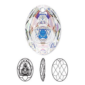 drop, swarovski crystals, crystal ab, 28x19.8mm faceted buddha pendant (6871). sold per pkg of 10.