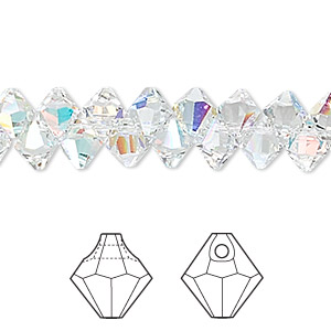 drop, swarovski crystals, crystal ab, 6mm faceted bicone pendant (6301). sold per pkg of 360.