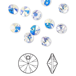 drop, swarovski crystals, crystal ab, 6mm xilion rivoli pendant (6428). sold per pkg of 12.