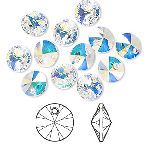 7e33ba581 Drop, Swarovski® crystals, crystal AB, 8mm Xilion rivoli pendant (6428).  Sold per pkg of 12. Other Package Size(s) Here