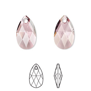 drop, swarovski crystals, crystal antique pink, 16x9mm faceted pear pendant (6106). sold per pkg of 144 (1 gross).