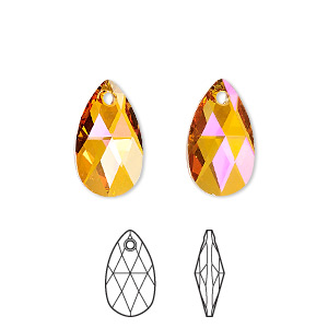 drop, swarovski crystals, crystal astral pink, 16x9mm faceted pear pendant (6106). sold per pkg of 144 (1 gross).