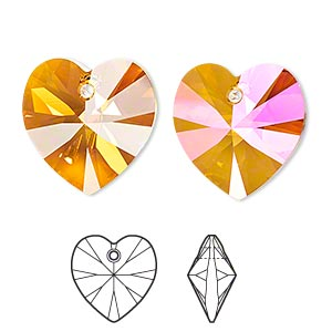 drop, swarovski crystals, crystal astral pink, 18x18mm xilion heart pendant (6228). sold per pkg of 72.