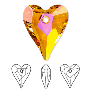drop, swarovski crystals, crystal astral pink, 27x22mm faceted wild heart pendant (6240). sold per pkg of 24.
