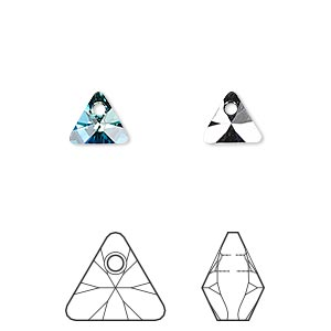drop, swarovski crystals, crystal bermuda blue p, 8mm xilion triangle pendant (6628). sold per pkg of 288 (2 gross).