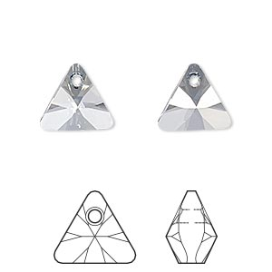 drop, swarovski crystals, crystal blue shade, 12mm xilion triangle pendant (6628). sold per pkg of 144 (1 gross).