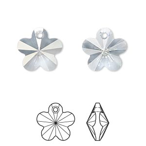 drop, swarovski crystals, crystal blue shade, 14x14mm faceted flower pendant (6744). sold per pkg of 144 (1 gross).