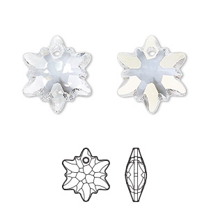 drop, swarovski crystals, crystal blue shade, 18mm faceted edelweiss pendant (6748). sold per pkg of 48.