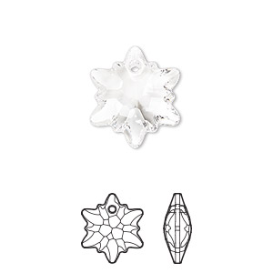 drop, swarovski crystals, crystal clear, 18mm faceted edelweiss pendant (6748). sold per pkg of 48.