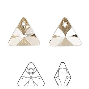 drop, swarovski crystals, crystal golden shadow, 16mm xilion triangle pendant (6628). sold per pkg of 72.