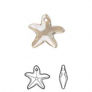 drop, swarovski crystals, crystal golden shadow, 17x16mm faceted starfish pendant (6721). sold per pkg of 72.