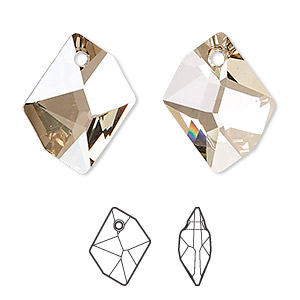 drop, swarovski crystals, crystal golden shadow, 20x16mm faceted cosmic pendant (6680). sold per pkg of 72.