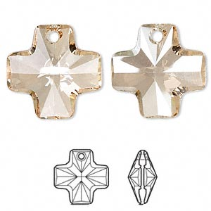 drop, swarovski crystals, crystal golden shadow, 20x20mm faceted cross pendant (6866). sold per pkg of 72.