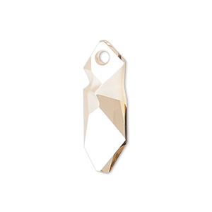 drop, swarovski crystals, crystal golden shadow, 28x10.5mm faceted kaputt pendant (6913). sold individually.