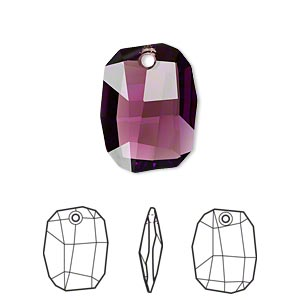 drop, swarovski crystals, crystal passions, amethyst, 19x14mm faceted graphic pendant (6685). sold individually.