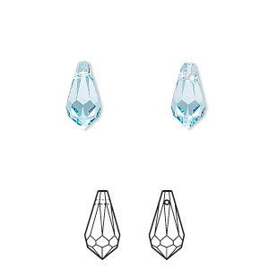 drop, swarovski crystals, crystal passions, aquamarine, 11x5.5mm faceted teardrop pendant (6000). sold per pkg of 2.