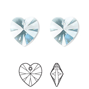 drop, swarovski crystals, crystal passions, aquamarine, 14x14mm xilion heart pendant (6228). sold individually.