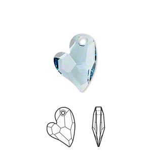 drop, swarovski crystals, crystal passions, aquamarine, 17x13mm faceted devoted 2 u heart pendant (6261). sold per pkg of 6.