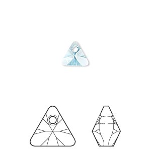 drop, swarovski crystals, crystal passions, aquamarine, 8mm xilion triangle pendant (6628). sold per pkg of 6.
