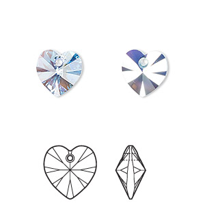 drop, swarovski crystals, crystal passions, aquamarine ab, 10x10mm xilion heart pendant (6228). sold per pkg of 2.