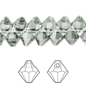 drop, swarovski crystals, crystal passions, black diamond, 8mm faceted bicone pendant (6301). sold per pkg of 12.