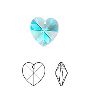 drop, swarovski crystals, crystal passions, blue zircon ab, 14x14mm faceted heart pendant (6202). sold individually.