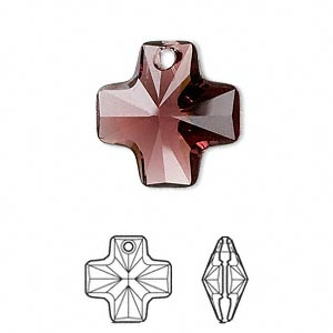 drop, swarovski crystals, crystal passions, burgundy, 20x20mm faceted cross pendant (6866). sold per pkg of 24.