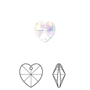 drop, swarovski crystals, crystal passions, crystal ab, 10x10mm xilion heart pendant (6228). sold per pkg of 24.