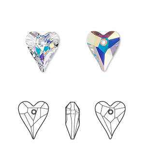 drop, swarovski crystals, crystal passions, crystal ab, 12x10mm faceted wild heart pendant (6240). sold per pkg of 2.