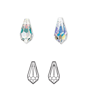 drop, swarovski crystals, crystal passions, crystal ab, 13x6.5mm faceted teardrop pendant (6000). sold per pkg of 2.
