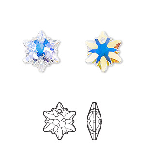 drop, swarovski crystals, crystal passions, crystal ab, 14mm faceted edelweiss pendant (6748). sold per pkg of 2.