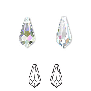 drop, swarovski crystals, crystal passions, crystal ab, 15x7.5mm faceted teardrop pendant (6000). sold per pkg of 2.