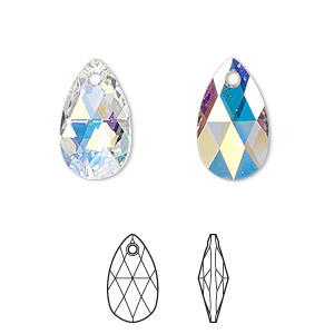 drop, swarovski crystals, crystal passions, crystal ab, 16x9mm faceted pear pendant (6106). sold per pkg of 24.