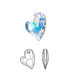 drop, swarovski crystals, crystal passions, crystal ab, 17x13mm faceted devoted 2 u heart pendant (6261). sold individually.