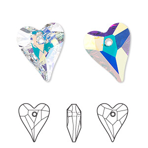 drop, swarovski crystals, crystal passions, crystal ab, 17x14mm faceted wild heart pendant (6240). sold per pkg of 12.